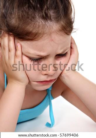 Deep mortification of little girl - stock photo