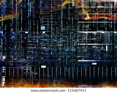 Deep Networking series. Design composed of industrial grunge texture, numbers and dark gradients as a metaphor on the subject of computing, industrial design and modern technology - stock photo