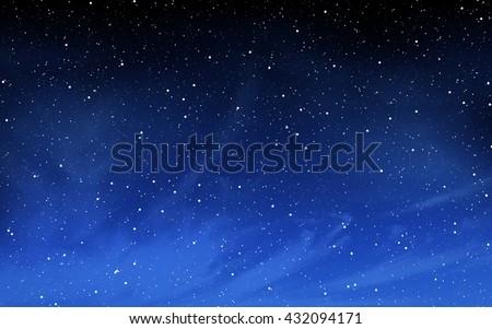 Deep night sky with many stars background - stock photo