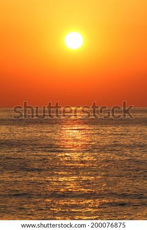 Sunset Beach Big Yellow Full Sun Stock Photo Shutterstock