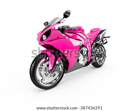 Deep Pink motorcycle isolated on a white background