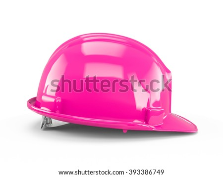 Deep Pink plastic construction helmet isolated on white background. - stock photo