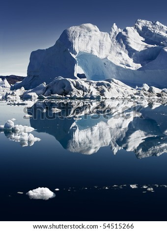 Deep pure waters, ices and icebergs of Greenland 4 - stock photo