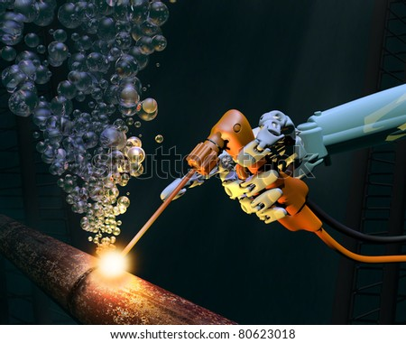 Deep sea repair work on a corroded metal pipe - stock photo