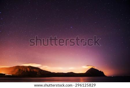 deep sky astrophoto , with grain - stock photo