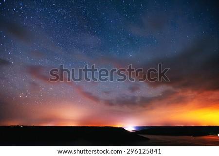 deep sky astrophoto, with grain - stock photo