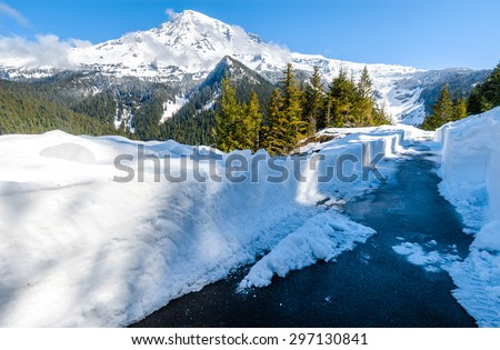 Deep Snow at Mount Rainier National Park - stock photo
