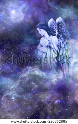 Deep space blue background with Guardian Angel amongst clouds looking down with thoughtful expression - stock photo