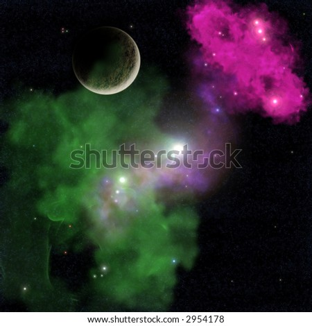 Deep space nebula seen from a distant solar system. - stock photo