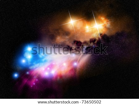 Deep Space Nebula with new  and young star formations. - stock photo
