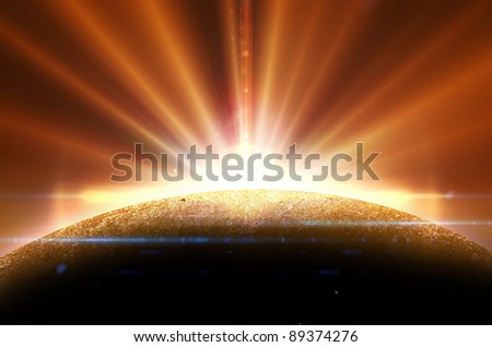 deep space planet background - stock photo