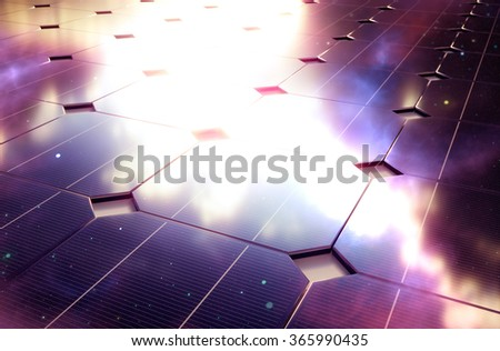 Deep space reflection on photovoltaic - stock photo