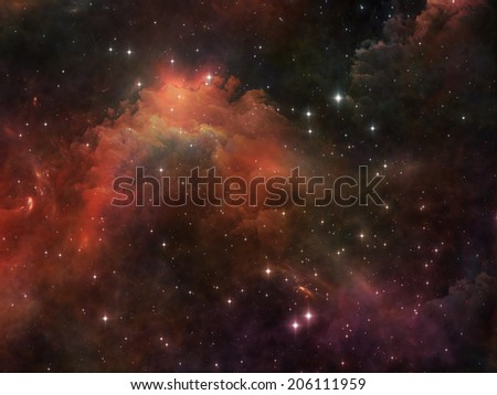 Deep Space series. Design composed of nebula, stars and colors as a metaphor on the subject of astronomy, science, space and religion - stock photo