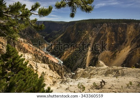 Deep valley of the Yellowstone River, with yellow slope and pines in the foreground, at Grand Canyon of the Yellowstone in Wyoming. - stock photo