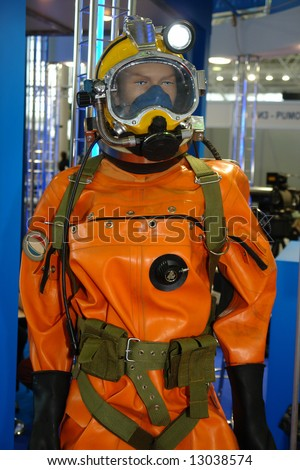 deep-water  diving  suit - stock photo