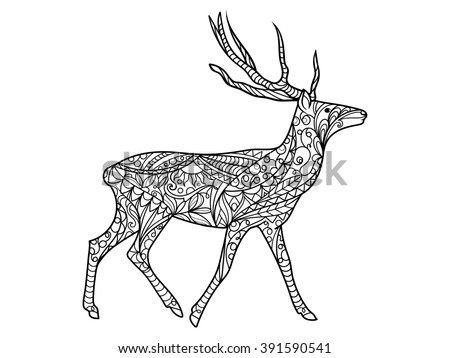 Deer hand drawn christmas magic horned stock vector for Deer coloring pages for adults