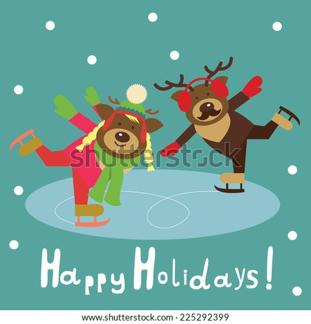 deer couple on the figured  skates - stock photo