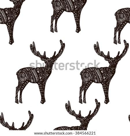 Deer illustration, deer male, animal with drawing, animal deer, long horns, deer drawing. Seamless background - stock photo