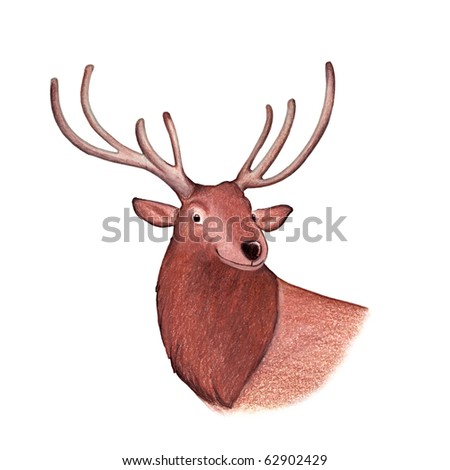 Deer illustration - Isolated - stock photo