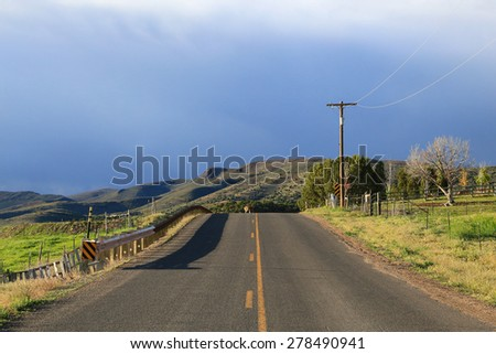 Deer in the distance crossing a country road, Utah, USA. - stock photo