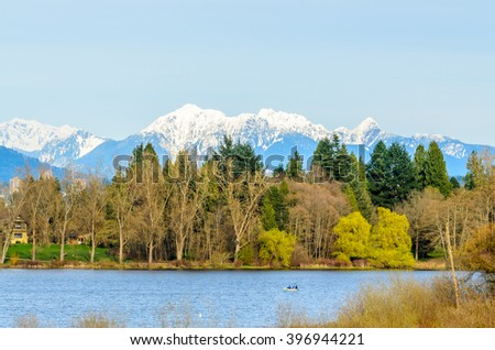 Deer Lake view from trail in Vancouver, Canada. - stock photo