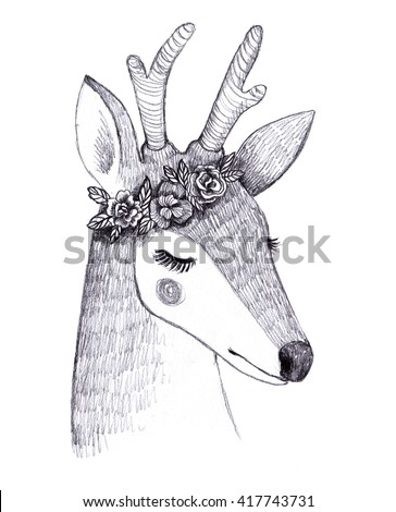 Deer pencil sketch. Hand drawn cute illustration. Little deer with flowers. - stock photo