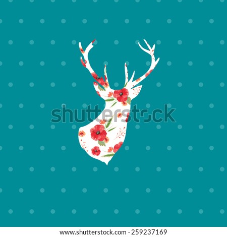 Deer profile silhouette with floral pattern on polka dot background. Hand drawn raster vintage illustration. Natural poster, antler print with poppy flowers - stock photo