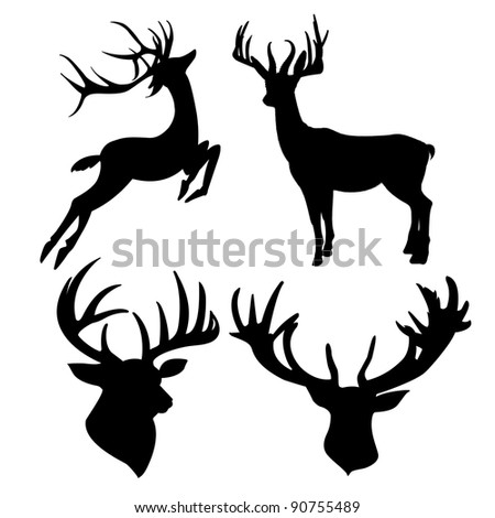 deer silhouette isolated on white background - stock photo