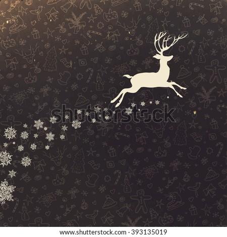 Deer silhouette on hand drawn Christmas background. Retro Merry Christmas Card Design. Raster version. - stock photo