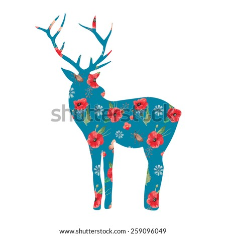 Deer silhouette with floral pattern on polka dot background. Hand drawn raster vintage illustration. Natural poster, deer print with flowers - stock photo