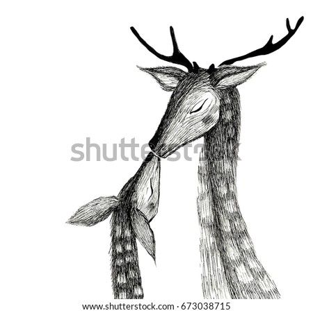 deers mom and fawn isolated can be used for postcards posters bed linen