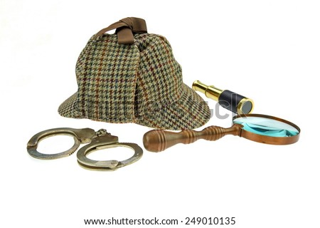 Deerstalker Hat, Retro Magnifier, Gold Spyglass and Real Handcuffs Isolated on White Background - stock photo