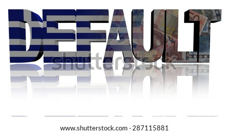 Default text with Greek flag and euros illustration - stock photo