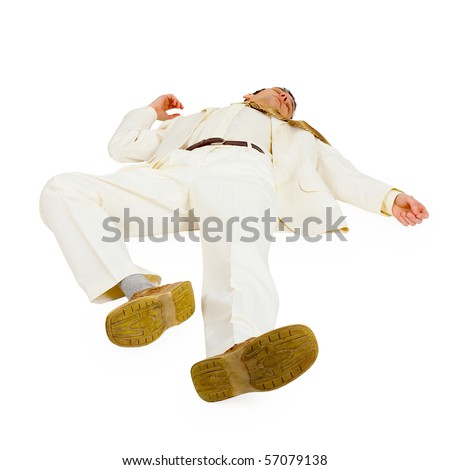 Defeated Businessman lying on white - stock photo