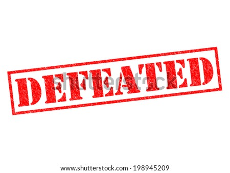 DEFEATED red Rubber Stamp over a white background. - stock photo