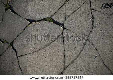 Defected gray surface of asphalt background with splits abstract wallpaper textured backdrop ruined cover of ground closeup, horizontal picture - stock photo