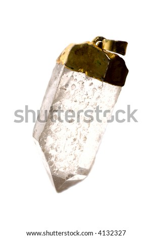 Defective Crystal transparent pendant isolated on white - stock photo
