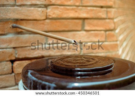 Defective faucet. Cause wastage of water - stock photo