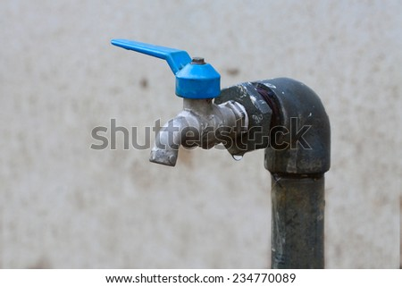 Defective faucet, Faucet control water flow by Open and close function by user. - stock photo