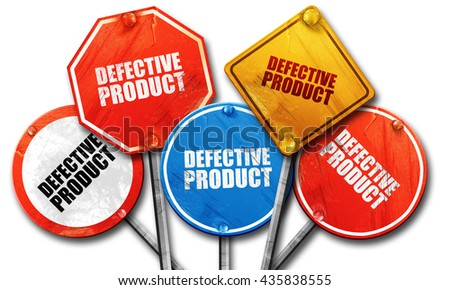 defective product, 3D rendering, rough street sign collection - stock photo