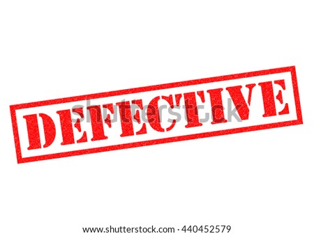DEFECTIVE red Rubber Stamp over a white background. - stock photo