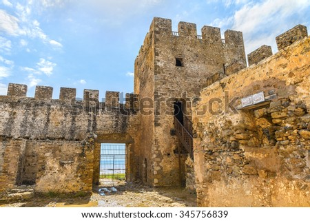 Defence tower and battlements of the ancient  Venetian fortress Frangokastello.Inner yard.Crete island.District of Chania. Greece.Europe. - stock photo