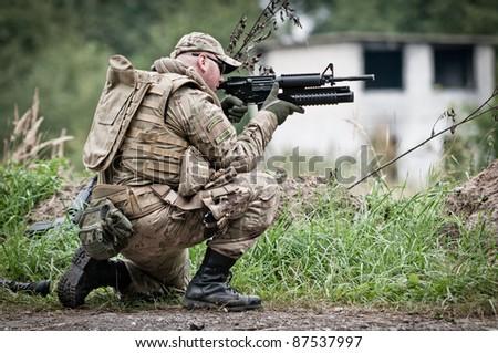 Defending soldier - stock photo