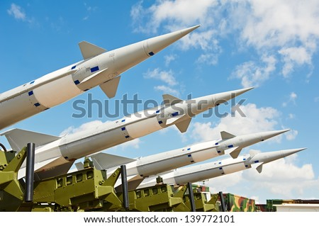 defense forces weapon. antiaircraft missles rockets with warhead aimed to the sky - stock photo