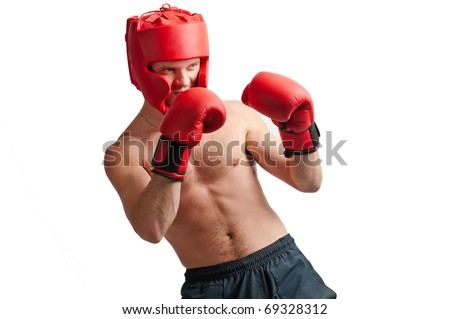 Defense of professional boxer with gloves and protective headgear isolated on white background - stock photo