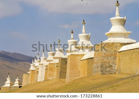 Defense wall at the Erdene Zuu monastery at  Karakorum, mongolia