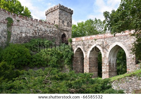 Defensive elements of the castle with tower, viaduct and gateway