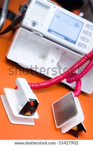 Defibrillator - emergency equipment - stock photo