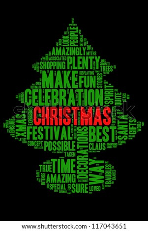 Definition of Christmas in tree shape collage - stock photo