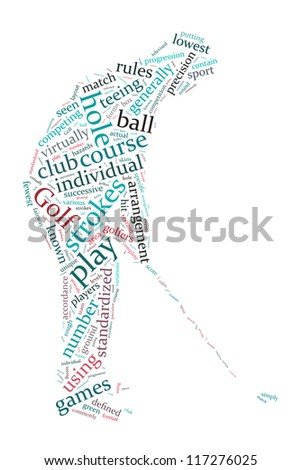Definition of golf in word collage - stock photo